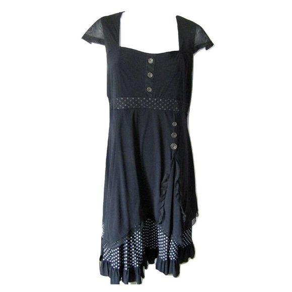 Simon Chang Black Dress with Polka Dot Trim 12